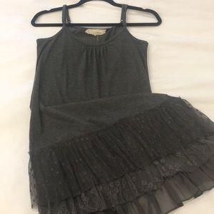 Gray cotton dress with ruffled bottom